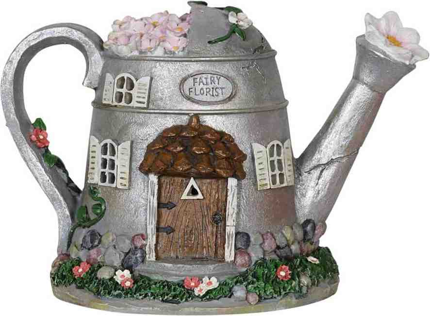 Exhart Fairy House Water Can Statue