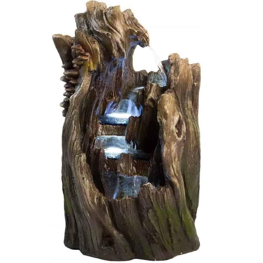Walnut Log Garden Fountain