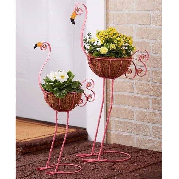 Pink Flamingo Planter Pair