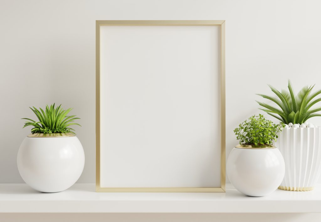Home interior poster mock up with vertical metal frame plants for winter